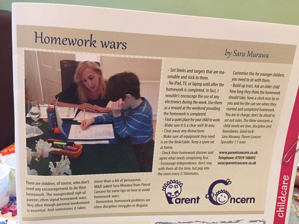published article by Sara from Mum and Dads magazine on Homework Wars