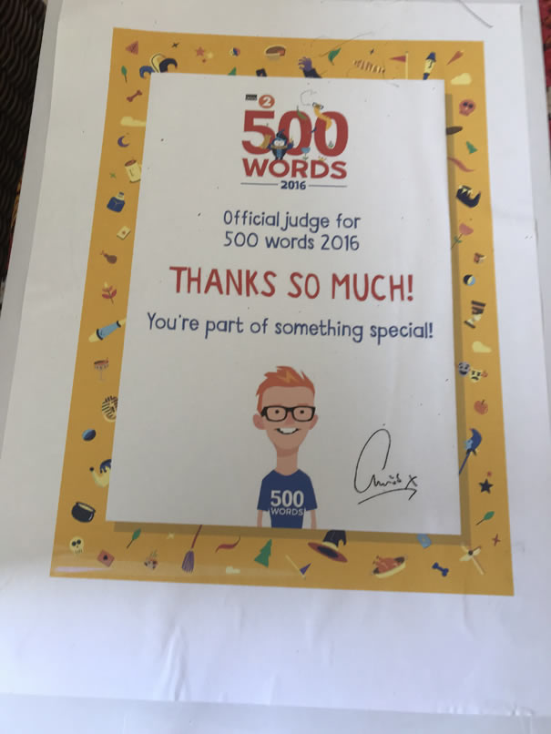 Thank you letter to Sara from Chris Evans for  being an official judge for his 500 Words competetion