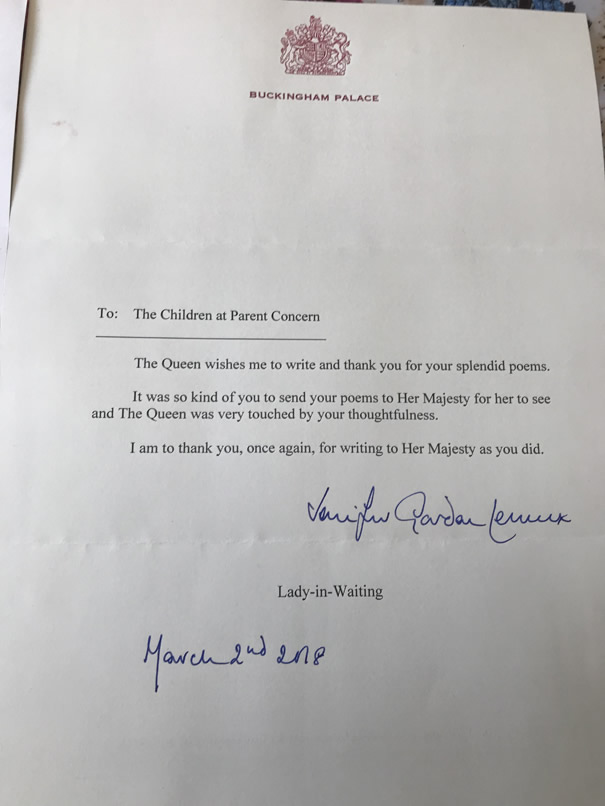 Thank You letter from Buckingham Palace for poems sent to the Queen from parent Concern