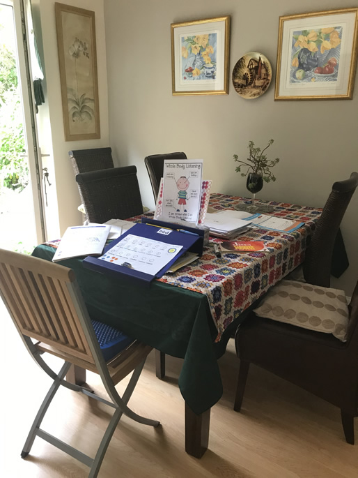 Table covered in learning materials